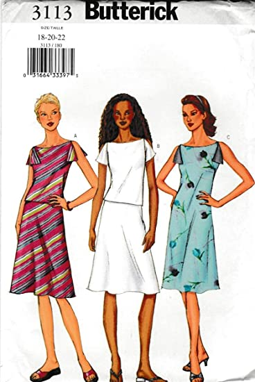 Amazon.com: Butterick Sewing Pattern 3113 B3113 Misses Size 18-22 ...
