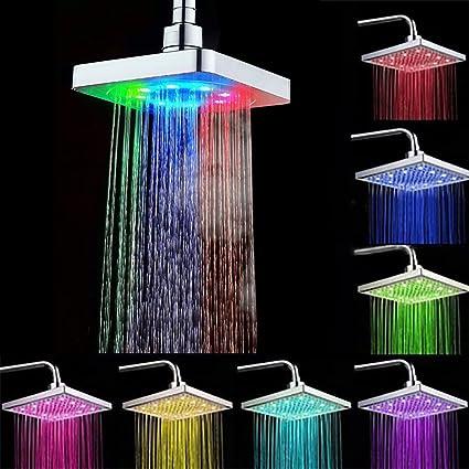 6 Pulgadas Alcachofas fijas Led 7 Colores Cuadrado, ducha fija pared alcachofas ,Cromado (