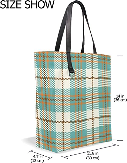 Plaid Check Canvas Flannel Alaska Handbag Green Buffalo Plaid Tote Bag Tartan Gingham Shopping Bag Beach Bag