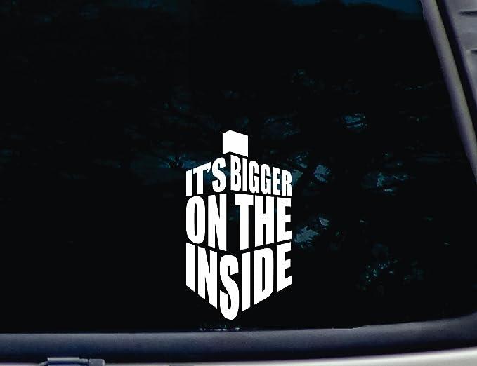 Aufkleber It S Bigger On The Inside 9 5 Cm X 17 Cm Vinyl Für Fenster Auto Lkw Werkzeugbox Für Nahezu Jede Harte Glatte Oberfläche Nicht Bedruckt Auto