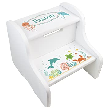 Custom Hand Painted Children/'s Bench Seat Ocean Jellyfish or Any Kids Theme Small Step Stool