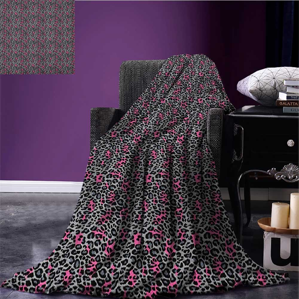 Leopard Print emergency blanket African Safari Animal Pattern Nature Inspired Fashion Cheetah Panther Print Pink Grey Black size:51''x31.5''