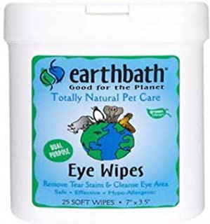 product image for Earthbath 6 Pack of Eye Wipes for Dogs and Cats, 25 Count Each, Hypoallergenic, Cleans and Removes Tear Stains