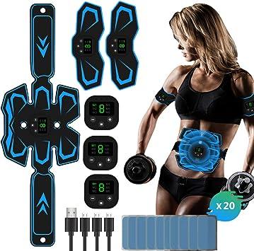 TouchSKY Electroestimulador Estimulador Muscular Abdominales USB Recargable EMS Estimulador Abdominales Muscular Masajeador Cintur/ónMuscular Abdominales para Abdomen//Cintura//Pierna//Brazo