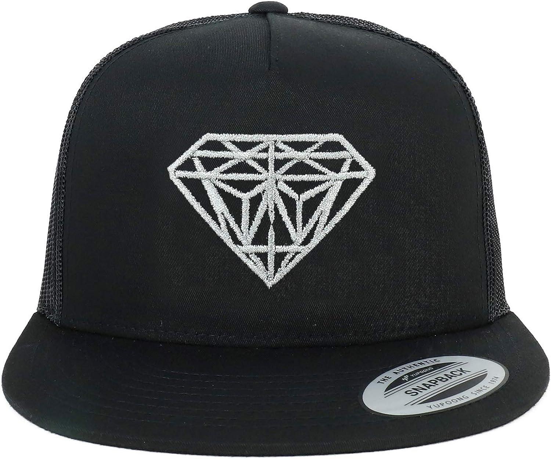 Oversize XXL Silver Diamond Embroidered 5 Panel Flatbill Snapback Mesh Cap