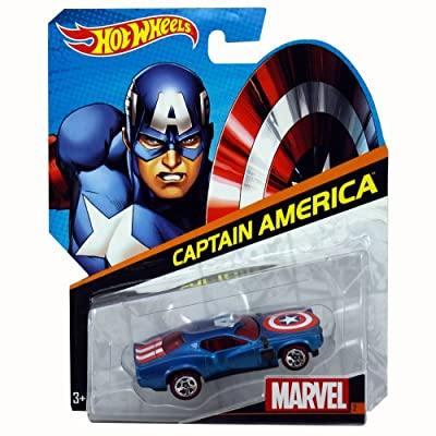 Hot Wheels Marvel Character Car Captain America Die-Cast Vehicle: Toys & Games