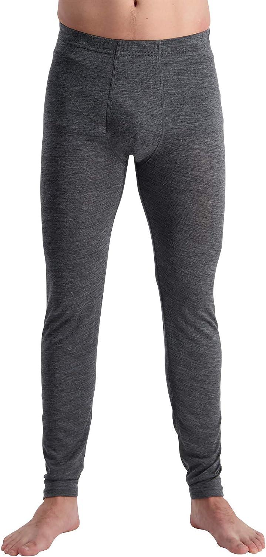 Mens 100/% Pure Soft Merino Thermal Base Layer Wool Bottom Pants Black or Charcoal