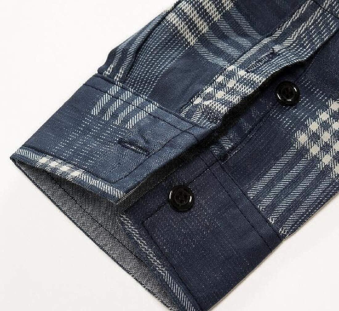Jofemuho Mens Button Down Long Sleeve Checkered Washed Denim Casual Slim Shirt Top