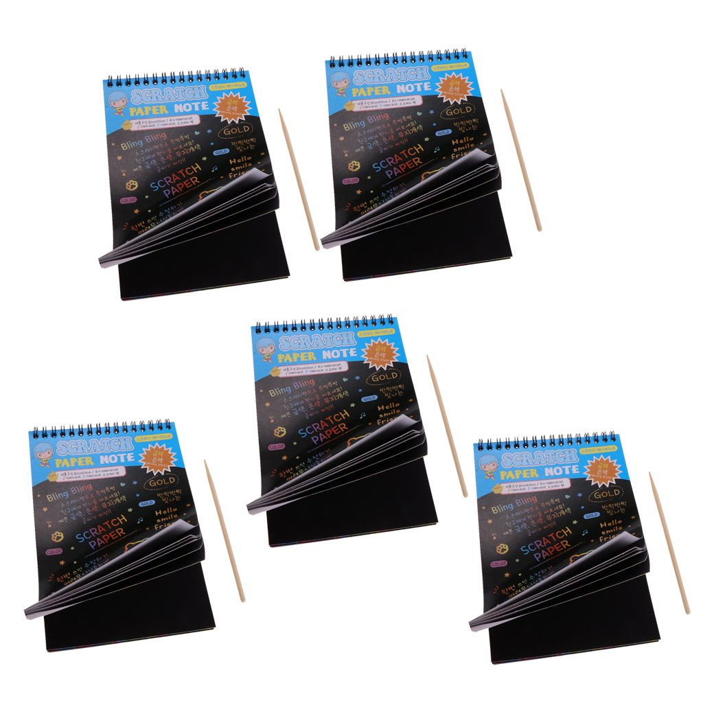Gazechimp Colourful Rainbow Scratch Drawing Notepad Sketchbook-for Entertainment 5-PCS - Blue by Gazechimp