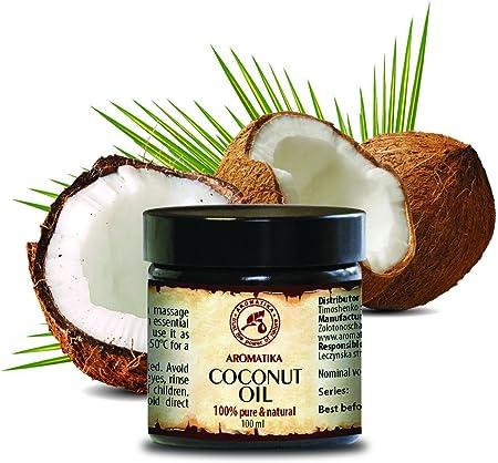 Aceite de Coco 100ml - Sin Refinar - Cocos Nucifera Oil - Indonesia - 100% Puro y Natural - Prensado en Frío - Ideal para Cabello - Piel - Labios - Cara - Cuerpo - Ideal para la Masaje