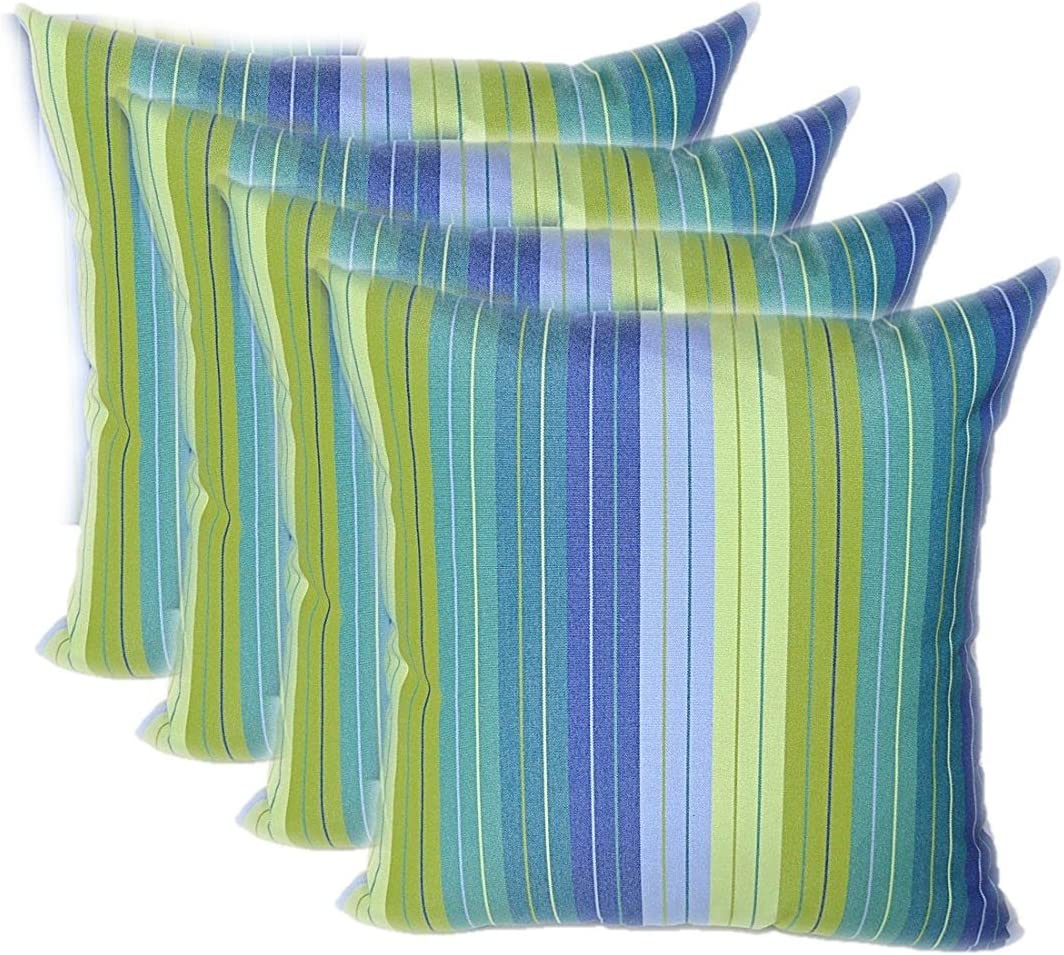 Amazon Com Set Of 4 Indoor Outdoor 17 Square Decorative Throw Pillows Sunbrella Seville Seaside Blue And Green Stripe Kitchen Dining