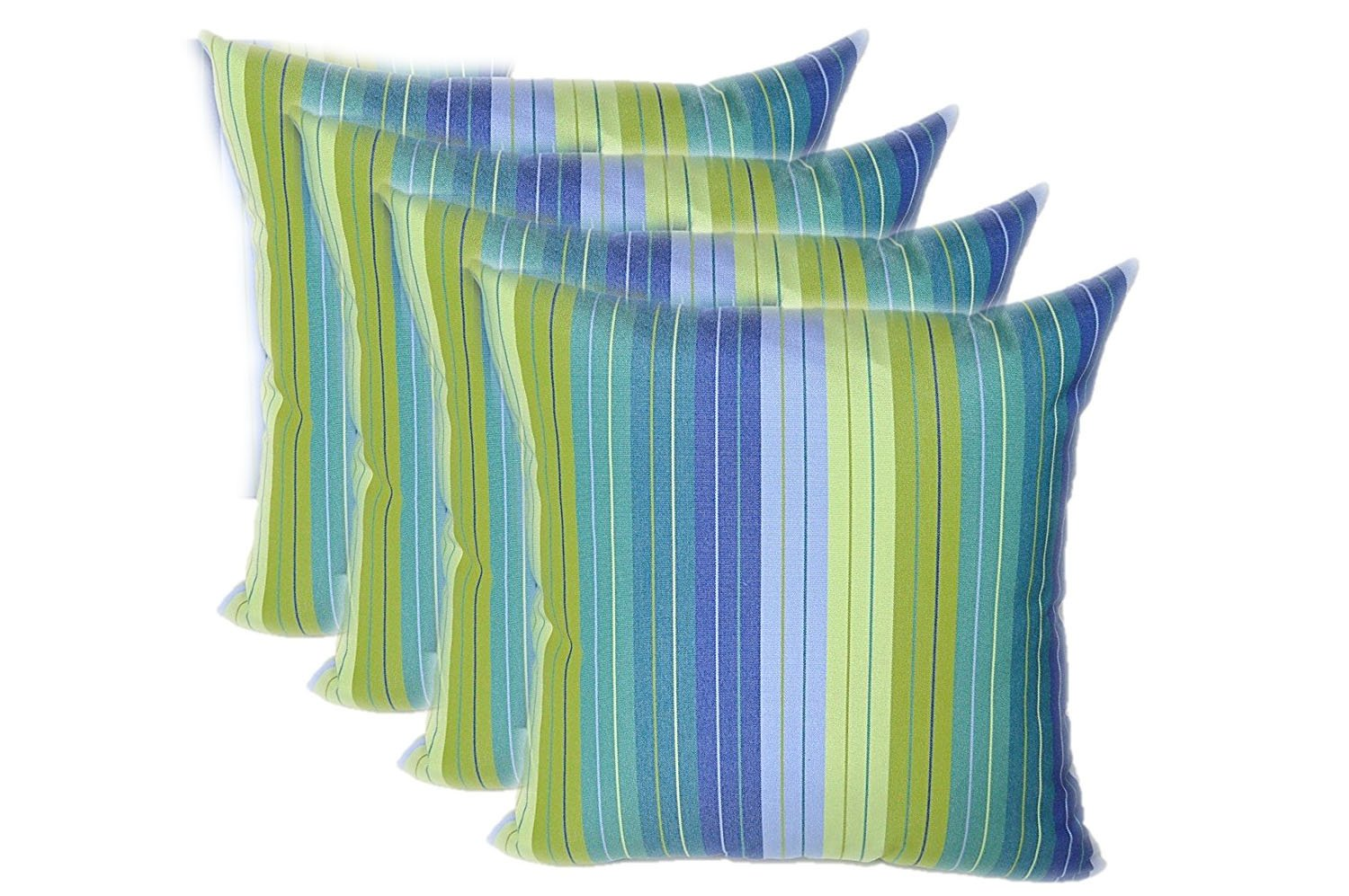 RSH Decor Set of 4 Indoor Outdoor 17'' Square Decorative Throw Pillows - Sunbrella Seville Seaside Blue and Green Stripe