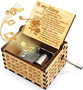 ukebobo Wooden Music Box- You are My Sunshine Music Box, from Aunt to Niece, Unique Music Gifts for Kids - 1 Set(TYH)