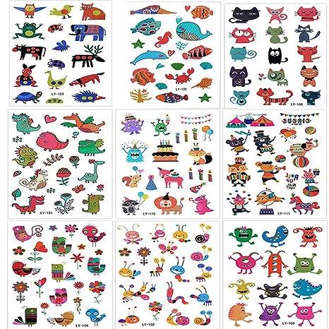 SouthStar Tatuajes Temporales para Niños Niñas, 9 Hojas Dibujos Animados Animales Perfecto para piñata Niños