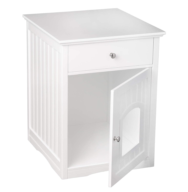 Armario para gatos UPP con cajón de color blanco brillante. Medida ideal: 57,8 x 62,2 X 63,5 cm. Armario de baño, armario de aseo, cueva para gatos, ...