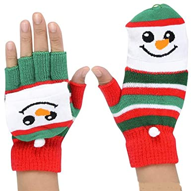 snowman fingerless gloves christmas mittens ugly sweater party x mas - Christmas Mittens