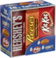 Hershey Chocolate Candy Bar Variety Pack, HERSHEY'S Milk Chocolate, REESE'S Peanut Butter Cups, and KIT KAT Bars, 18 Count Box