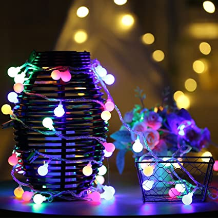bnzhome 50 led ball string lights with flashing 164ft5m waterproof string light - Amazon Uk Outdoor Christmas Decorations