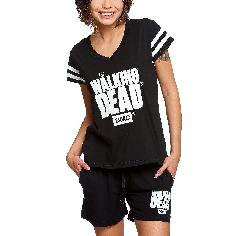 Walking Dead Damen Pyjama kurz Logo 2tlg Elbenwald Baumwolle schwarz