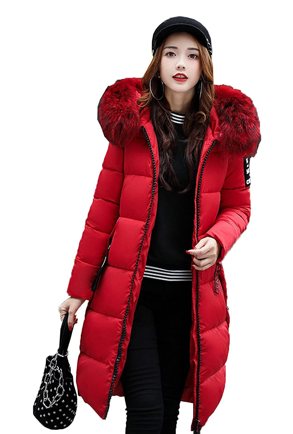 COMVIP Women Long Quilted Jacket Puffer Coat With Faux Fur Hood 6FDZ190
