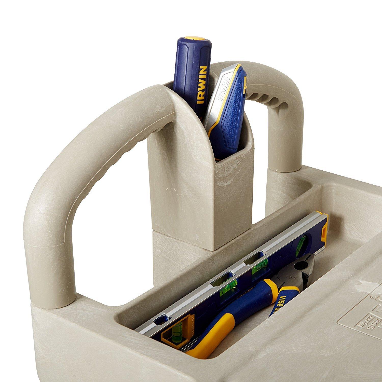 Rubbermaid Commercial Heavy-Duty Utility Cart, Ergo Handle, Flat Shelves, Small, Beige FG450500BEIG