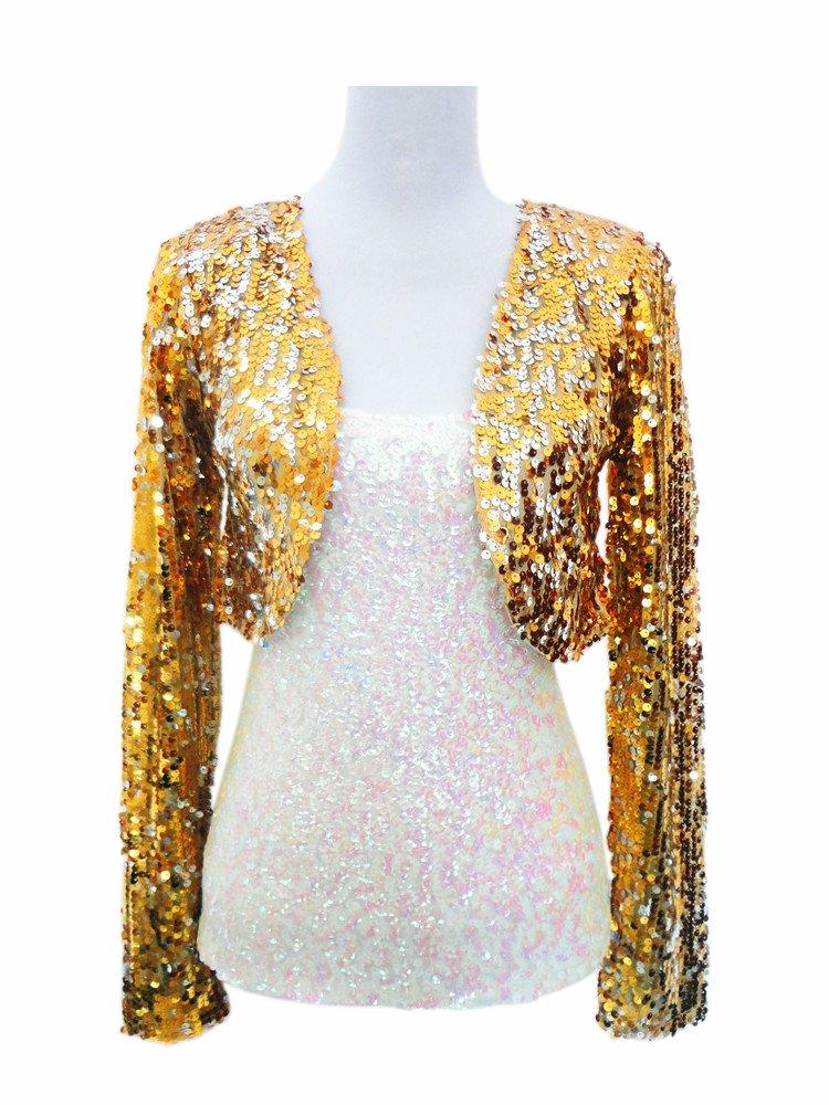 Whitewed Ladies Women Long Sleeve Metallic Sequin Bolero Style Shrug Cardigan Jacket Gold