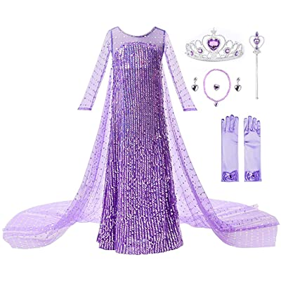 Ohlover Girls Sequins Princess Costume Birthday Party Christmas Fancy Dress