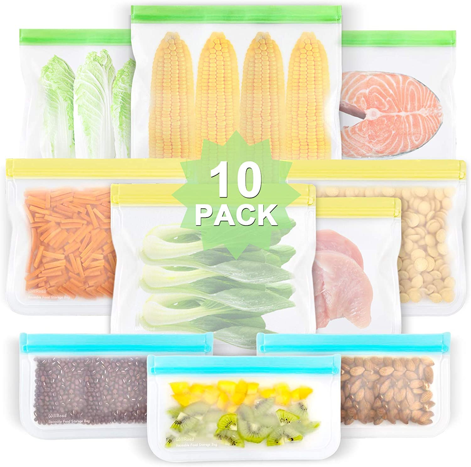 Reusable Food Storage Bags, 10 Pack EXTRA THICK Food Grade BPA FREE Leakproof Freezer Bags (3 Reusable Gallon Bags, 4 Reusable Sandwich Bags, 3 Snack Bags) Seal Bag for Travel Items, by WILLROAD
