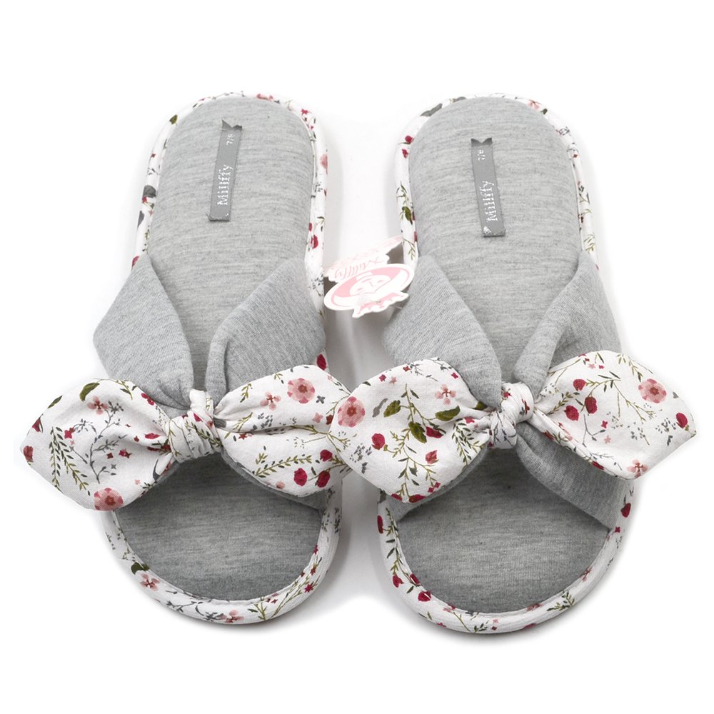 Millffy New Season Summer Floral Sweet Memory Foam Slipper Japanese Flowers Ladies Cotton Slippers Shoes (Women US 7/8 Or UK 5/6 Or EU 38/39, Grey)