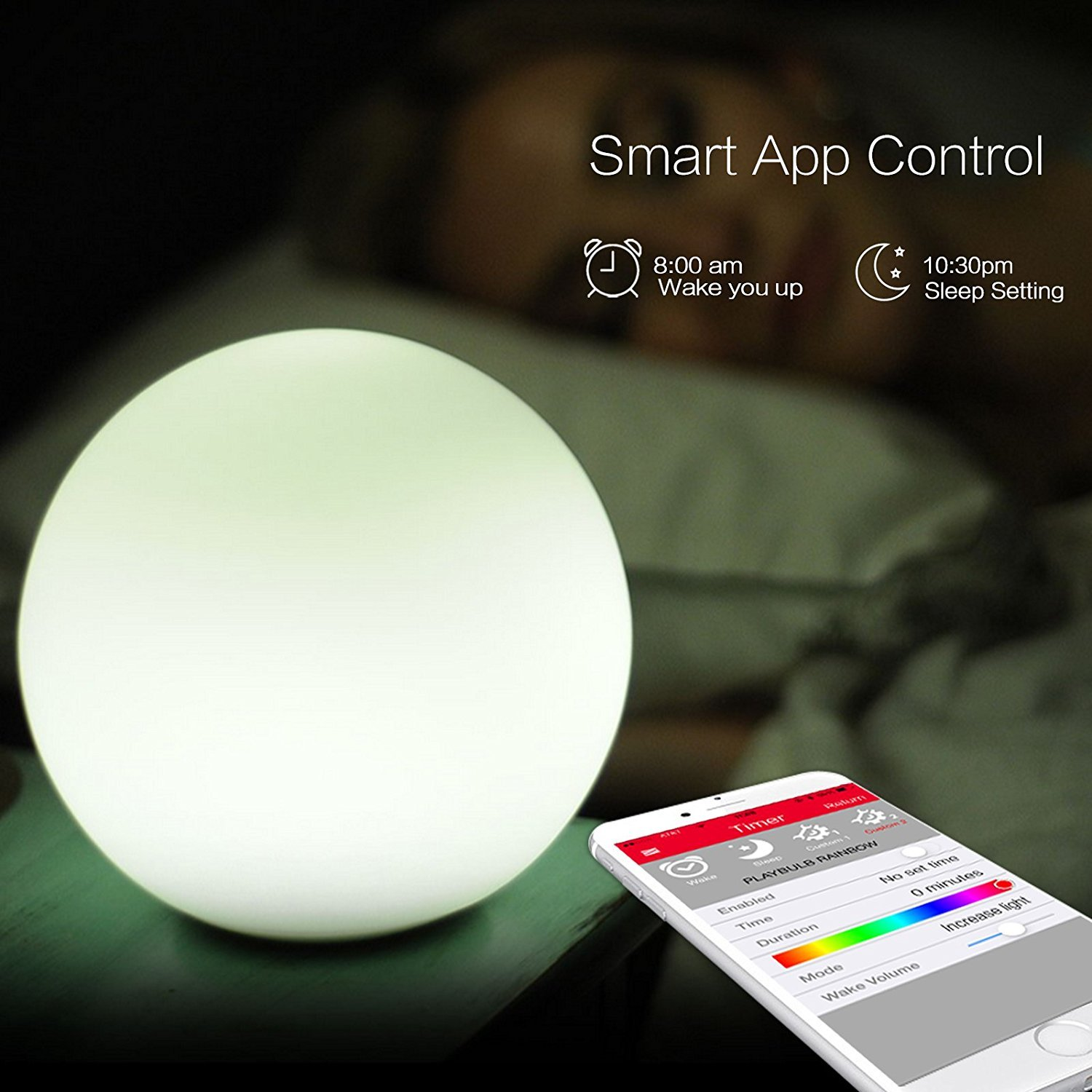 MIPOW PLAYBULB Sphere Bluetooth Smart Color Changing Night Light, Waterproof Touch Sensitive Dimmable LED Glass Orb Bulb with APP control, Wireless Charging Solution, Ideal for Home Bedroom Patio by MIPOW (Image #4)