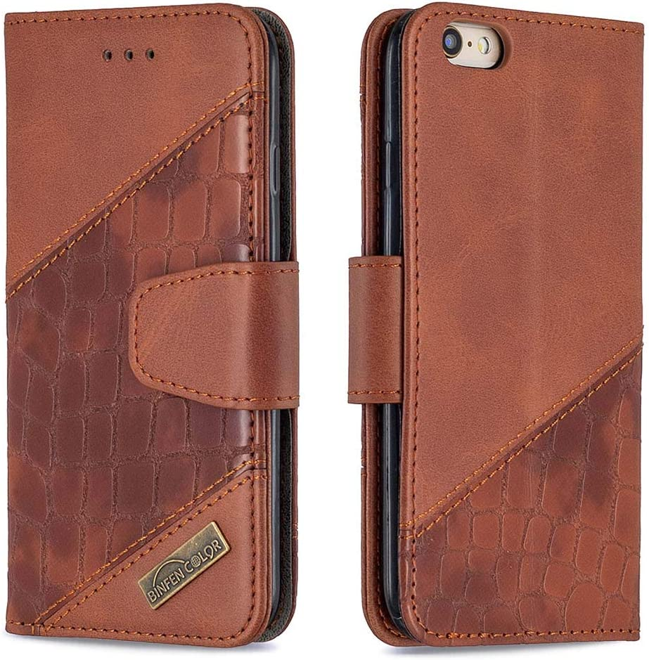 Aismile Wallet Phone Case Compatible for iPhone 6/ iPhone 6S Brown Boys Mens Luxury PU Leather Folio Bumper and Silicone Shell Cover with Card Slots Pouch 360 Full Body Shockproof Protective Holster