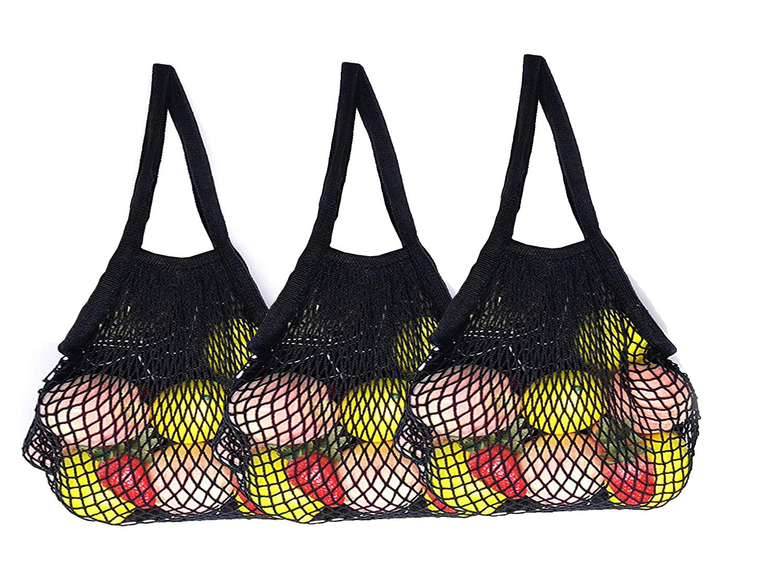 驚きの価格が実現! ahyuan pack Reusable Grocery Grocery Bagsコットン文字列バッグメッシュバッグのセット3 B0714PCMCQ Black 3 Black pack, 紫波郡:6bebdd43 --- 4x4.lt