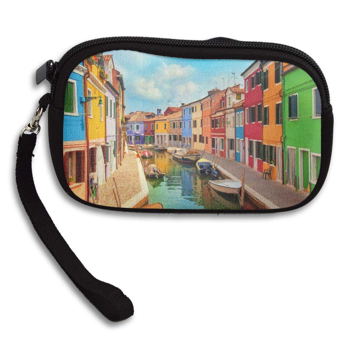 Coin Purse Colorful Buildings And Water Canal With Boats Coin Pouch With Zipper,Make Up Bag,Wallet Bag Change Pouch Key Holder