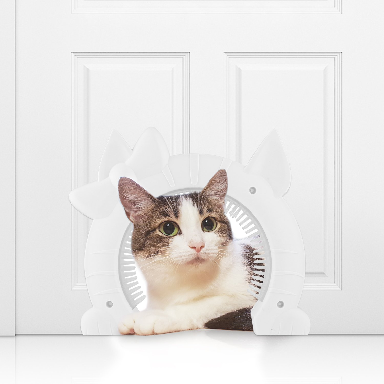 Homdox Interior Cat Door Clip-on Removable Cleaning/Grooming Brush, Kitty Shaped Cat Hole Pass Hidden Litter Box Pet Door Cats Medium & Large Size - White