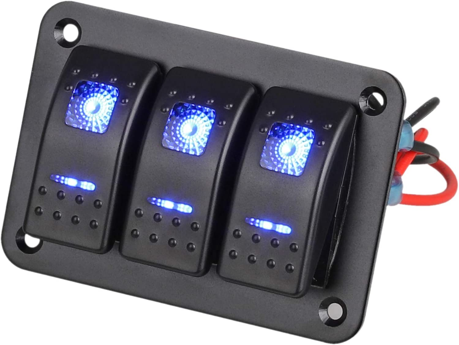 Amazon Com Linkstyle 3 Gang Car Boat Rv Marine Switch Panel Rocker Switch Panel With Blue Led Light 5 Pin On Off Switch Panel With Diy Stickers Set Automotive [ 1124 x 1500 Pixel ]