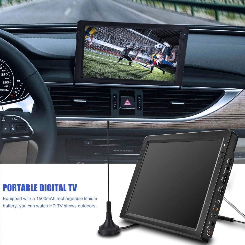 Televisor portátil de 12.1 Pulgadas, Pantalla LED pequeña para TV con DVB-T2 / DVB-T TV portátil USB PVR 1080P HD con baterías Recargables de 1500 MA y Antena para Coche,Dormitorio, Cocina, Caravana: