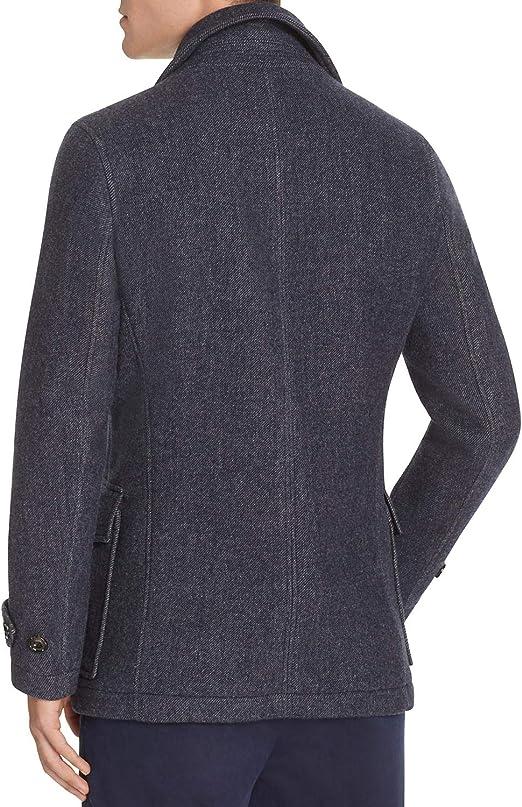 Hardy Amies Mens Slim Fit Wool Blend Double Breasted Melton Peacoat Medium Blue