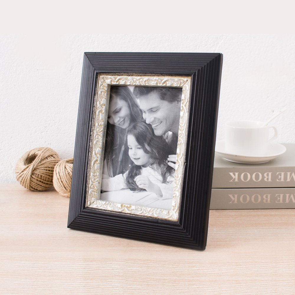 INART Solid Wood Tabletop and Wall Mounting Picture Frames with Embossed Design Made to Display Pictures Sized 4x6 inches - Glass Front, Easel Stand (Pack of 4)