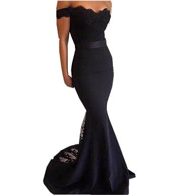 Angelsbridep Mermaid Appliques Evening Dress Long Black Praty Prom Gown (2, Black)