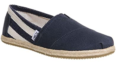 79e1d2167 TOMS Classic University Navy White Stripe Mens Canvas Espadrilles Shoes  Slipons-8
