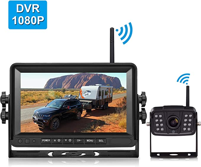 Fhd 1080p Digital Wireless Backup Camera And 7 Dvr Monitor Support Dual Quad Split Screen For Trailers Trucks Rvs 5th Wheels Highway Observation