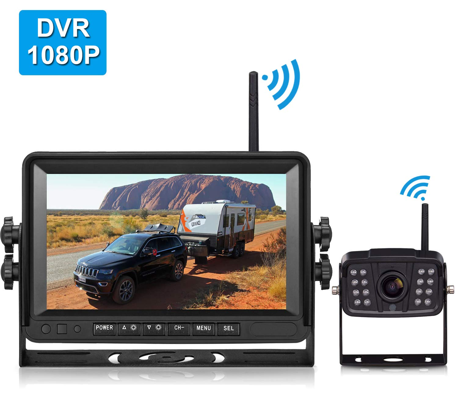 FHD 1080P Digital Wireless Backup Camera and 7'' DVR Monitor Support Dual/Quad Split Screen for Trailers,Trucks,RVs,5th Wheels Highway Observation System IP69K Waterproof Guide Lines On/Off by DoHonest