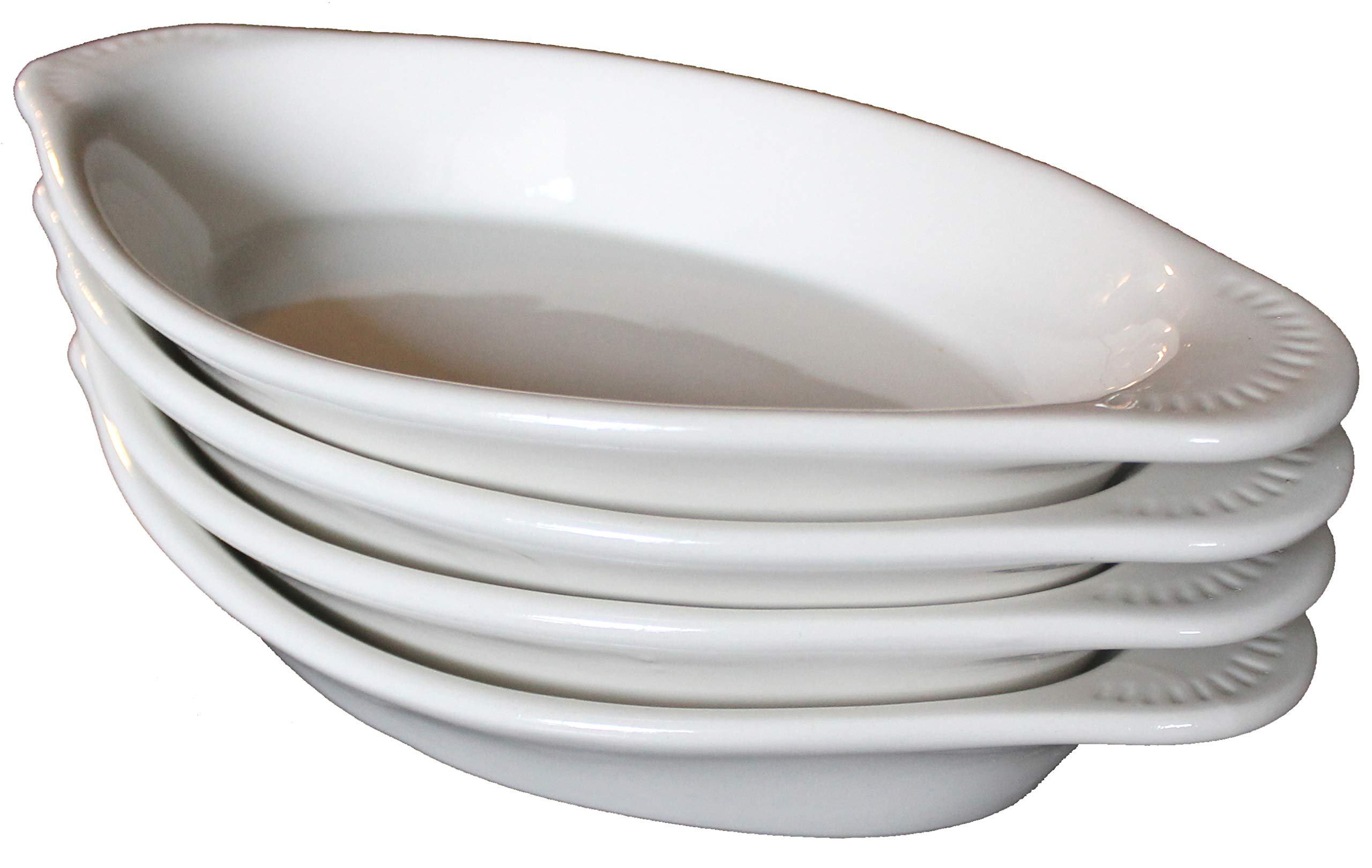 MinWill Brands Ceramic Oval Au Gratin/Rarebit Baking Dish with Pan Scraper (4-Pack, 15 Ounce, Bone White) by MinWill Brands (Image #1)
