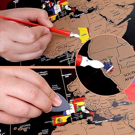 regalo perfecto para viajar Mapa del mundo para rascar mapa del mundo detallado con banderas de los Estados Unidos y del pa/ís kit de accesorios abundantes y tubo de regalo Anpro