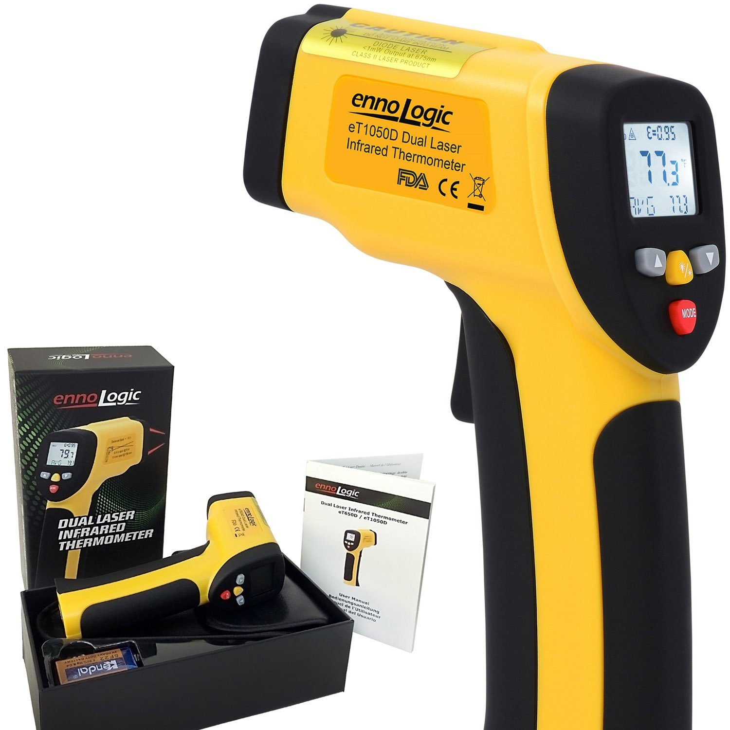 Temperature Gun by ennoLogic - Accurate High Temperature Dual Laser Infrared Thermometer -58°F to 1922°F - Digital Surface IR Thermometer eT1050D w/NIST Certificate