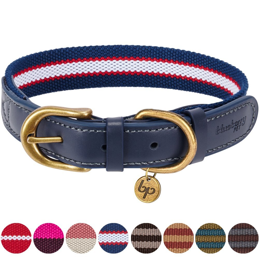 Blueberry Pet 8 Colors Polyester Fabric and Soft Genuine Leather Webbing Dog Collar in Navy White and Red, Medium, Neck 15''-18'', Adjustable Collars for Dogs