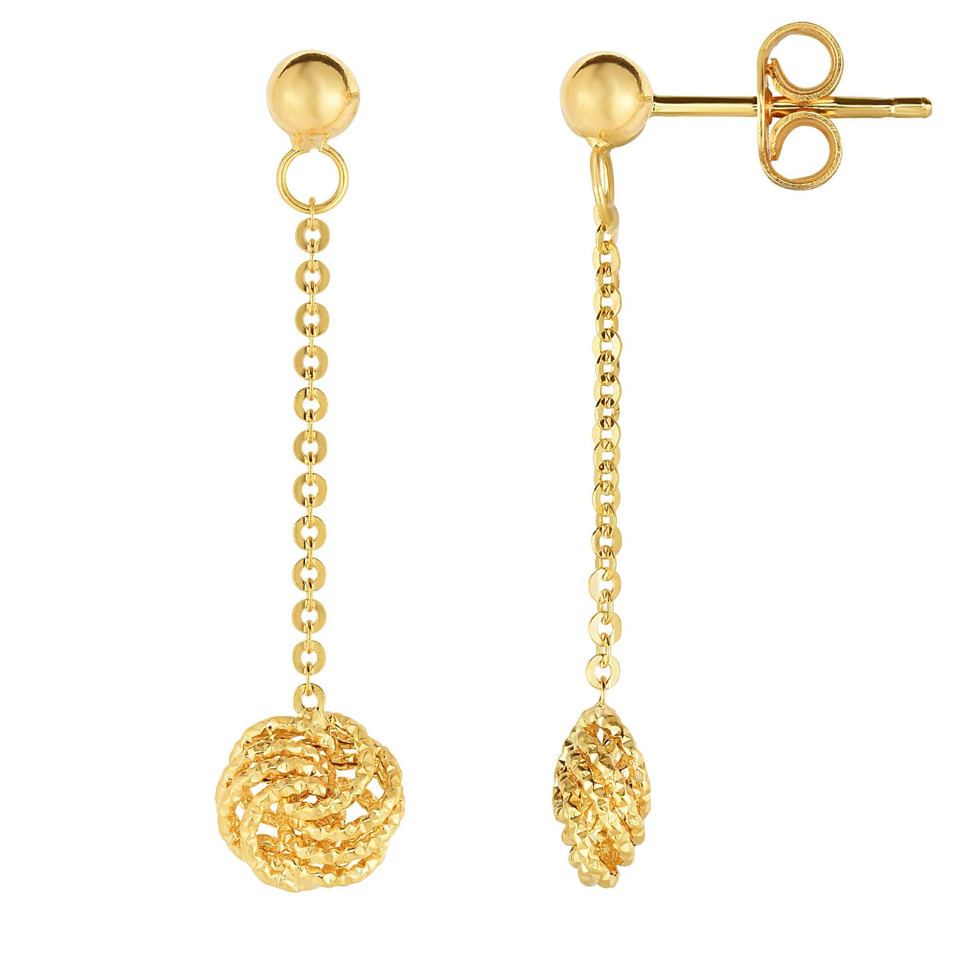 14K Yellow Gold Love Knot Drop Earrings