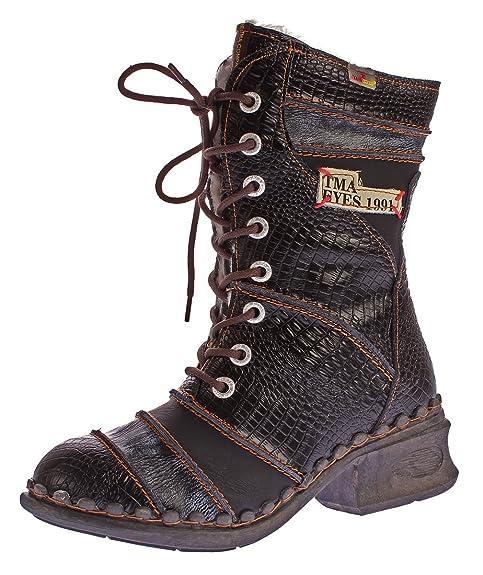 287d049459f35d TMA Damen Winter Stiefel echt Leder Schuhe gefüttert Comfort Boots 5199  Animal Print Schwarz Gr.