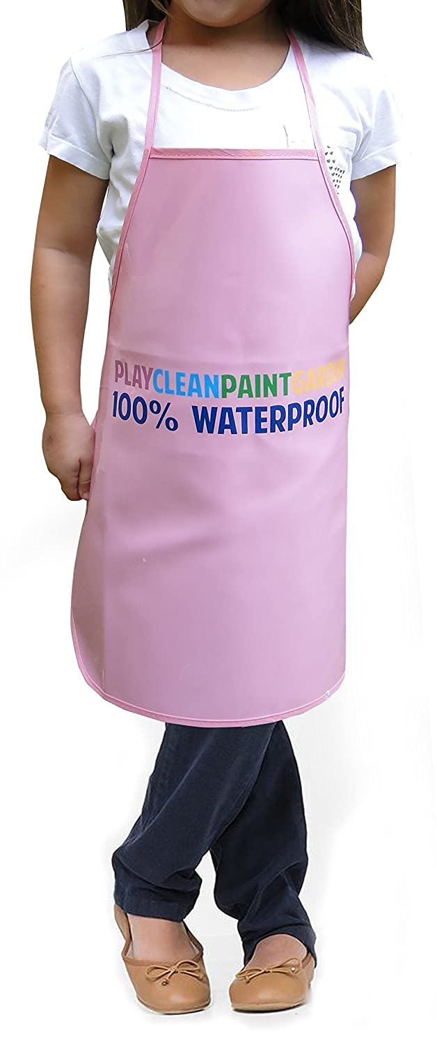 Children's Artists Aprons Heavy Duty Reusable PVC Waterproof Apron - Great for Cooking, Classroom, Playing, Community Events, Art & Crafts, Painting and More - Easy to Clean - Ages 4-11 by JarJar