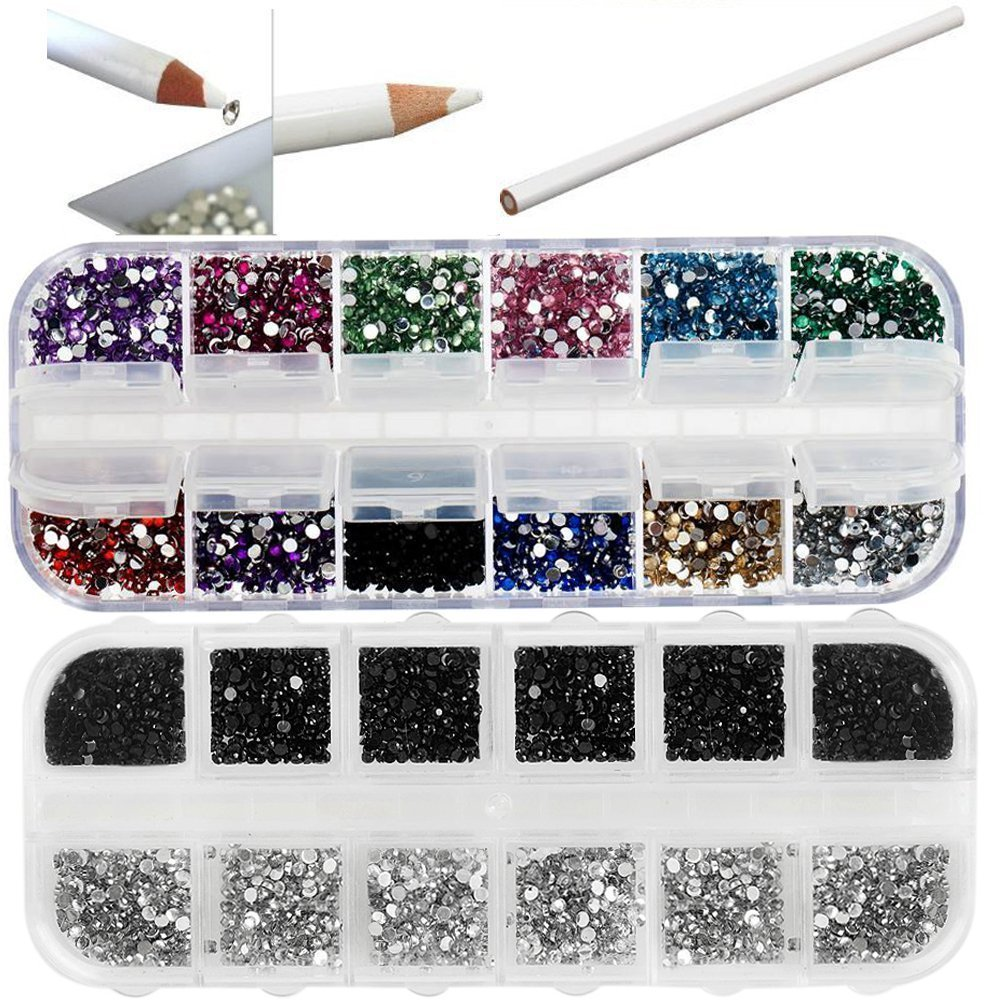 Super Deal Professional Premium Quality Nail Art Accessories Set Including Boxes With 5000 Colourful, Silver And Black Crystals / Gemstones And White Wax Rhinestones Picker Pencil / Decorations Application Tool By VAGA